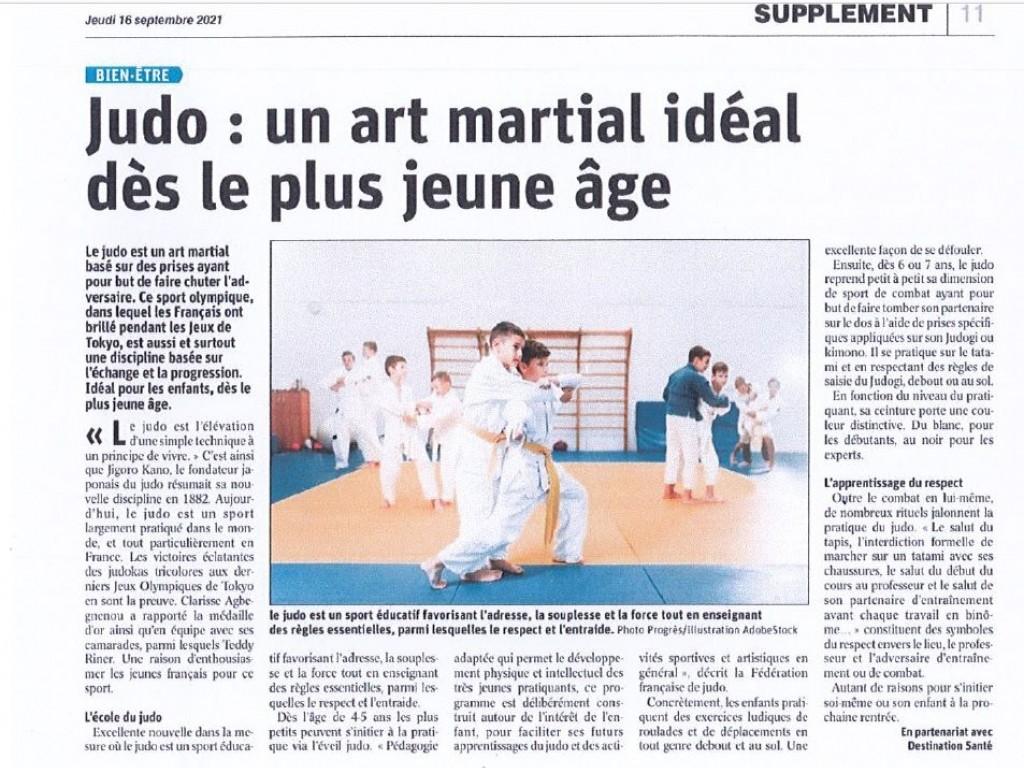 Image de l'actu 'Article du Progrès du 16 septembre : Judo : un art martial idéal dès le plus jeune âge'